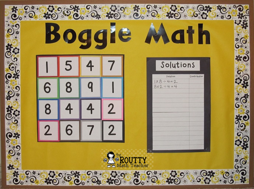 This image shows a math boggle board.