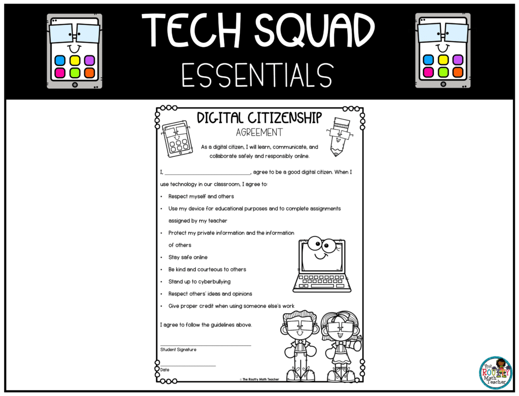 This image shows the digital citizenship agreement included in the Tech Squad essentials pack.
