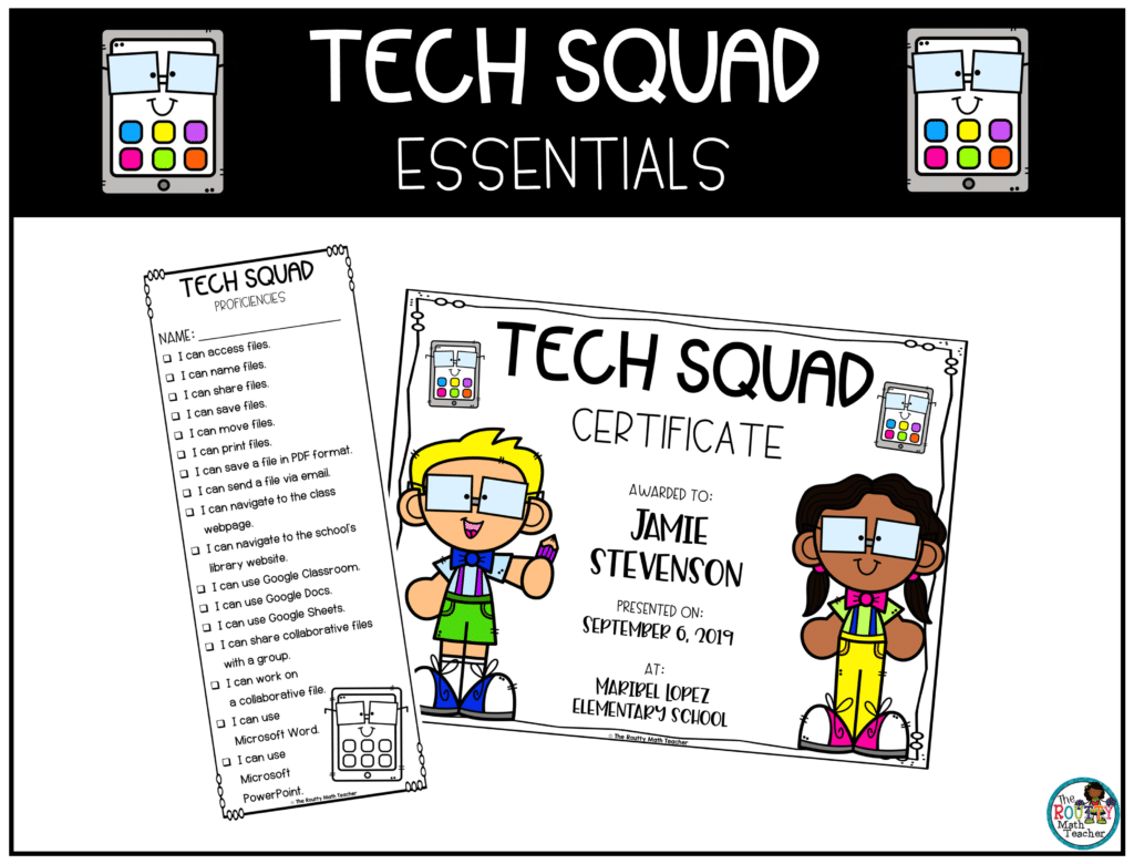 This image shows the technology proficiencies and certificate included in the Tech Squad essentials pack.