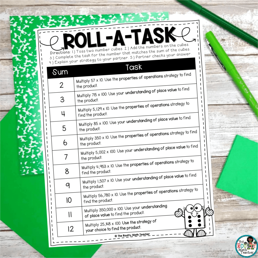 This is an example of a Roll-a-Task activity that can be used as multiplication and division practice.