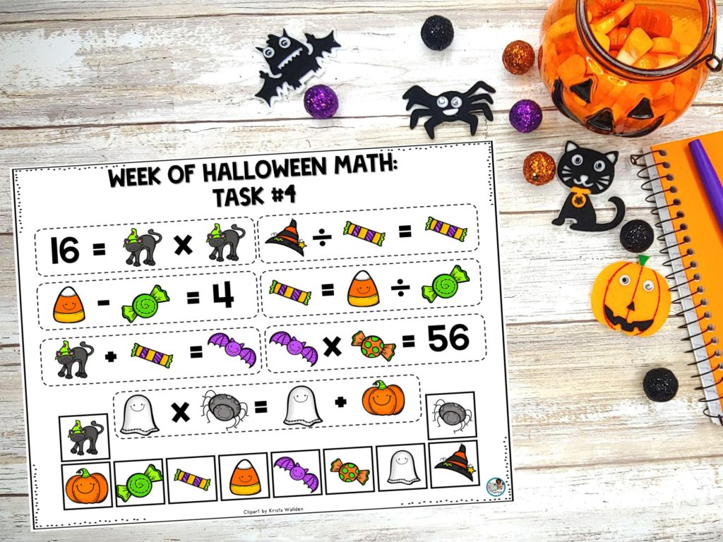 Halloween Math Task #4: Number Logic Tiling Task