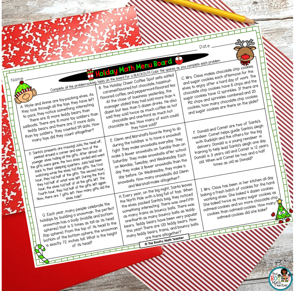 This picture shows how a math menu can be used as a holiday math project.