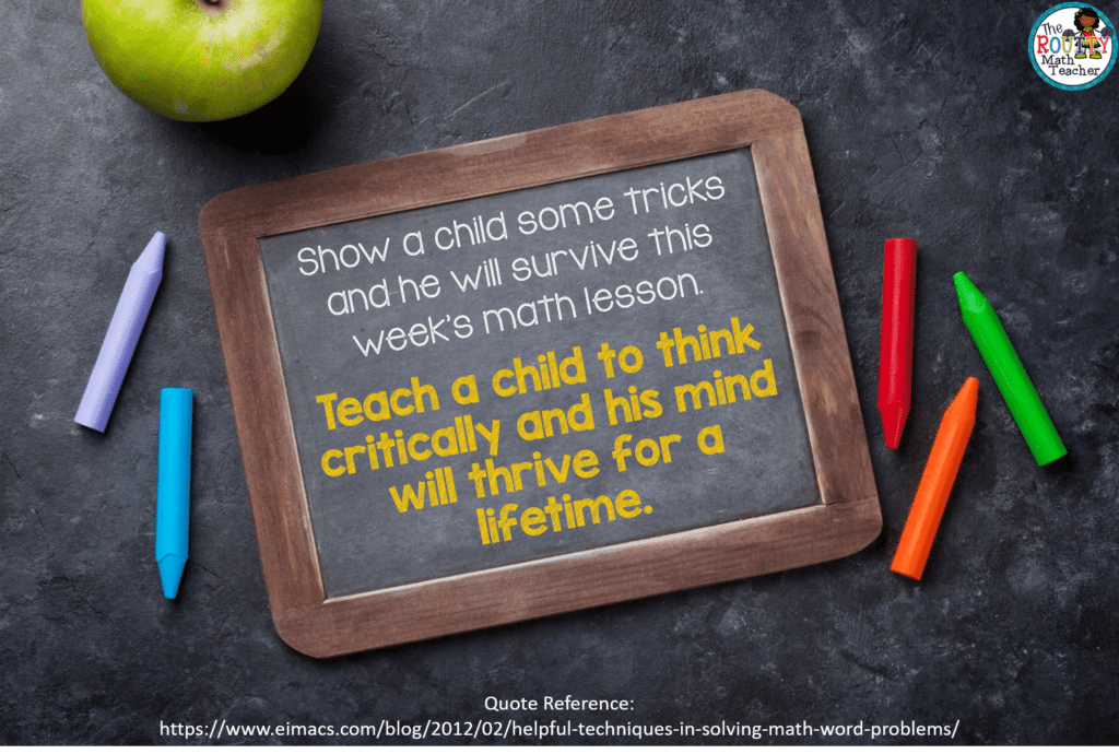"""This image shows a quote: """"Show a child some tricks and he will survive this week's math lesson. Teach a child to think and his mind will thrive for a lifetime."""""""