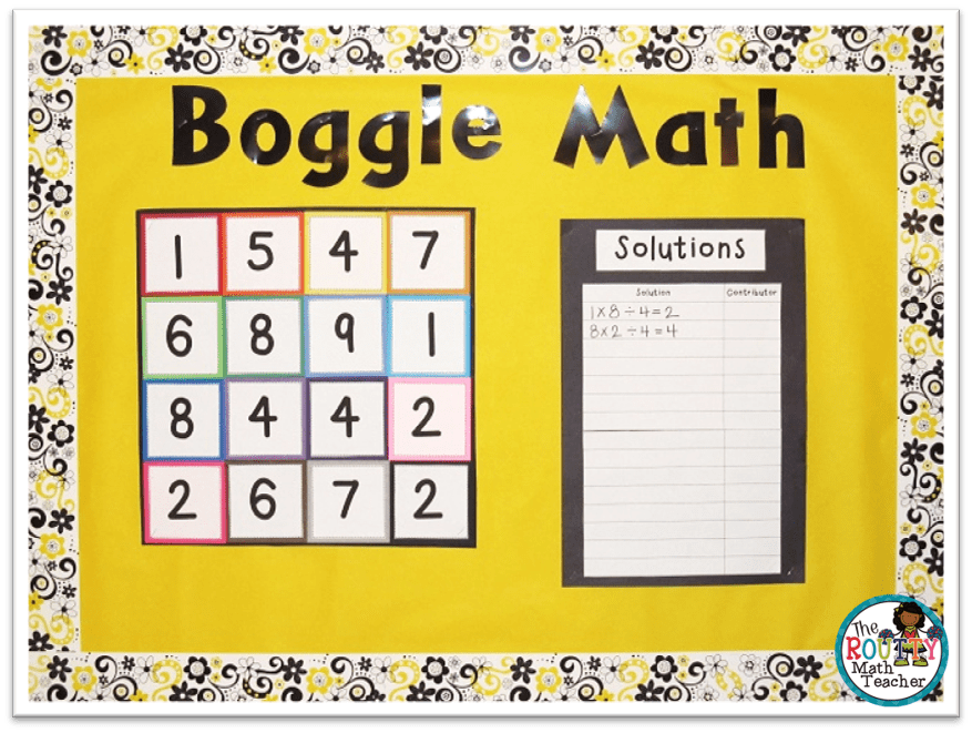 This an example of a Math Boggle Board.