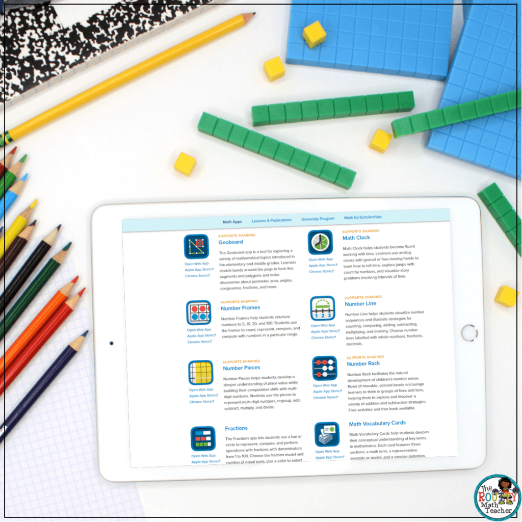 This an example of The Math Learning Center's virtual math tools.