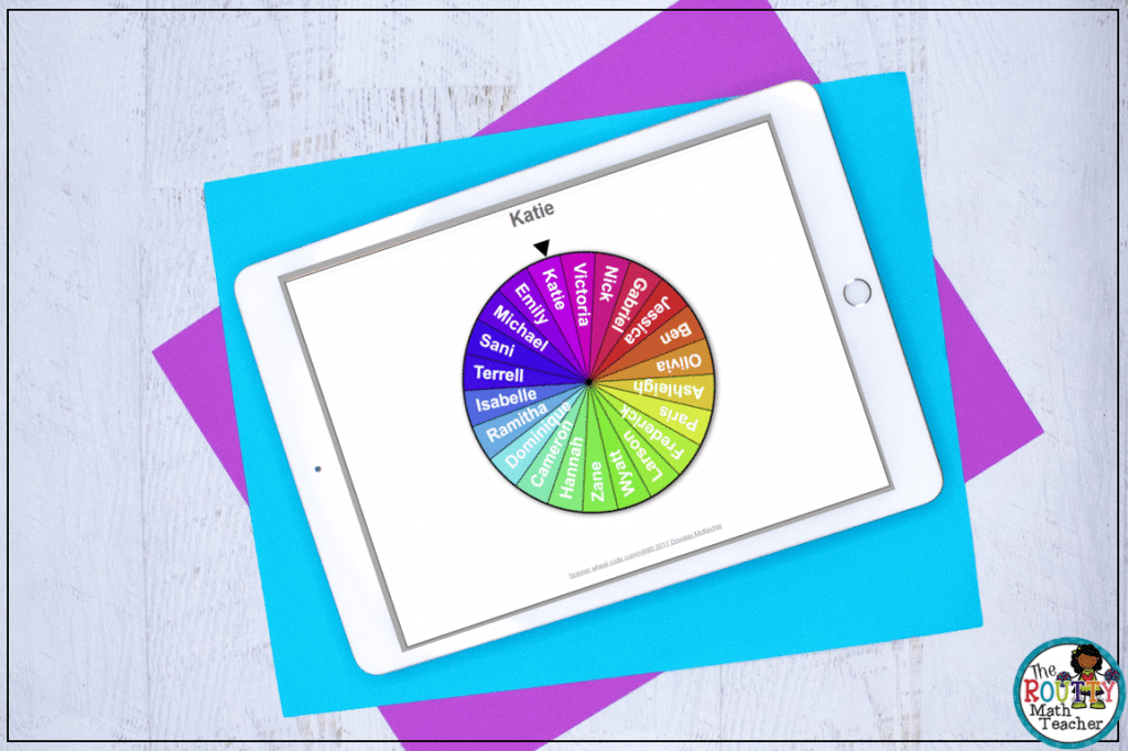 This is an example of a virtual spinner used to select a student.