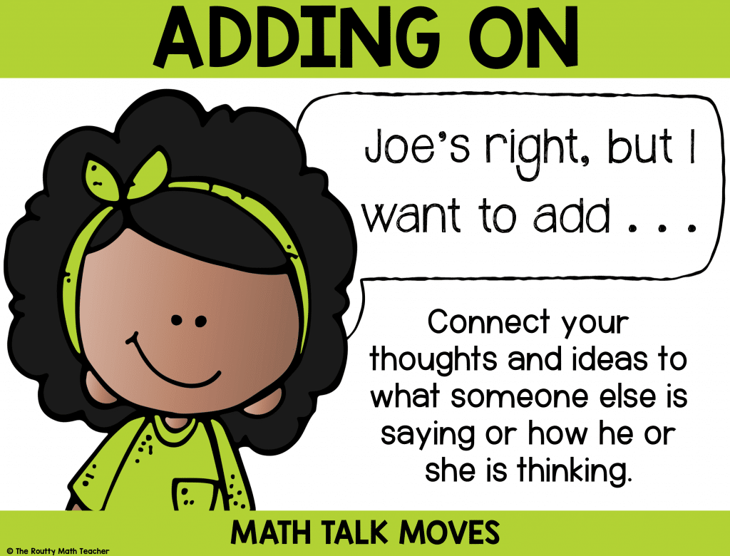 "This poster shows how to use""adding on"" during math talk."
