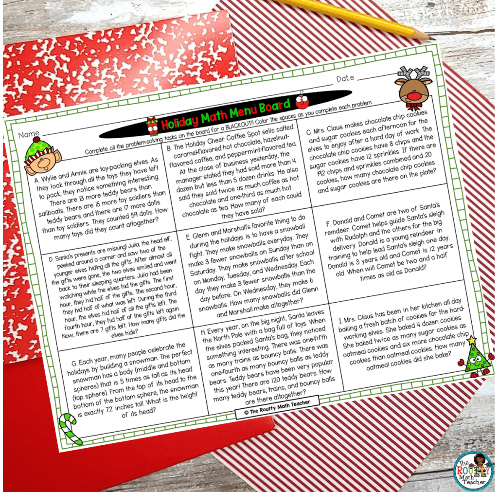 This is an example of how math menus can be used as holiday math projects.
