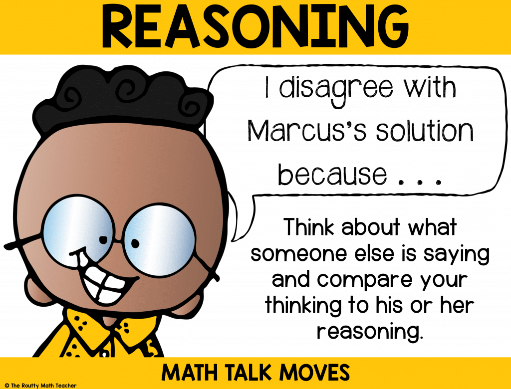 This poster shows how to use reasoning during math talk.
