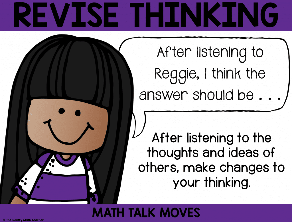This poster shows how to use revising during math talk.
