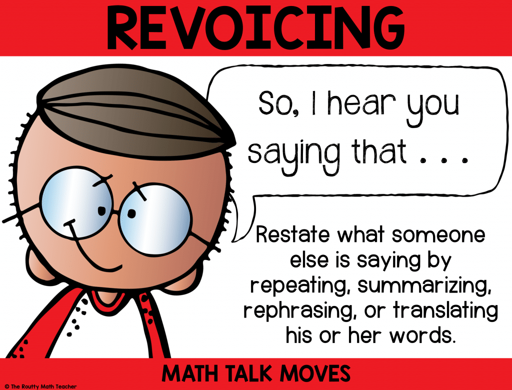This poster shows how to use revoicing during math talk.