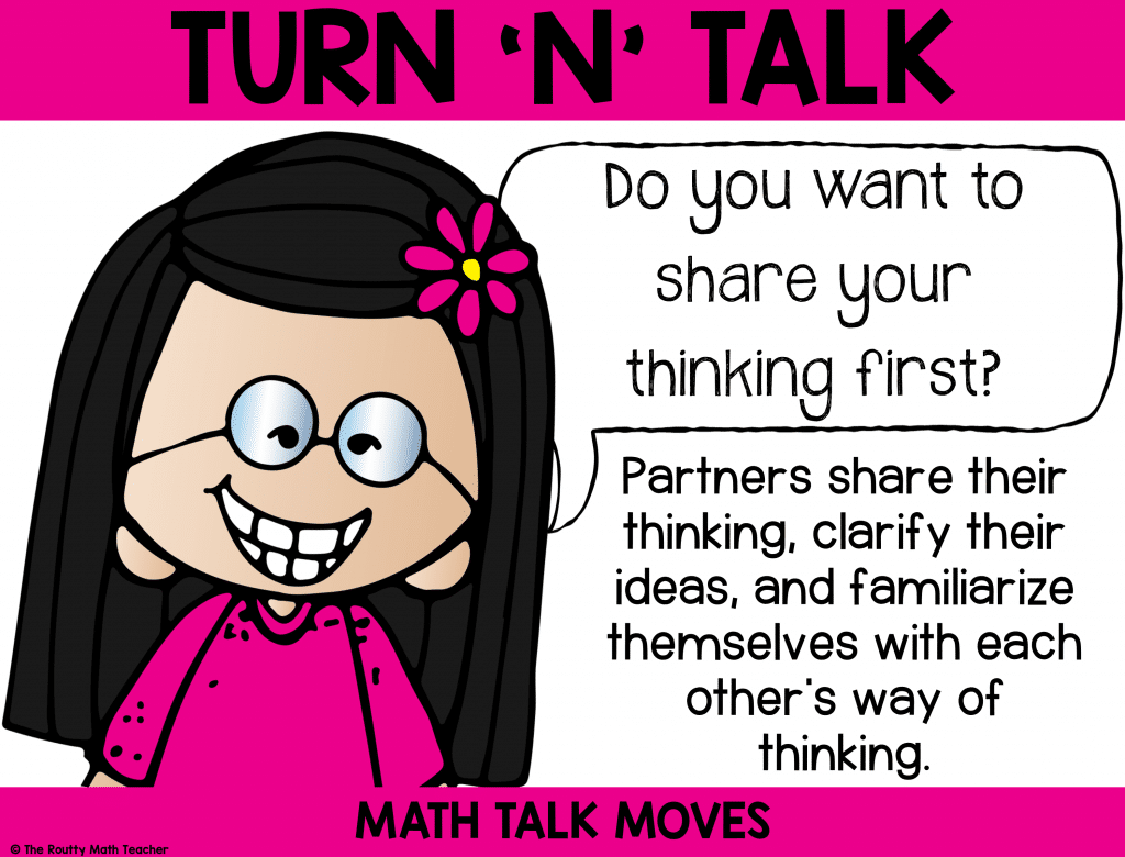 "This poster shows how to use ""turn 'n' talk during math talk."