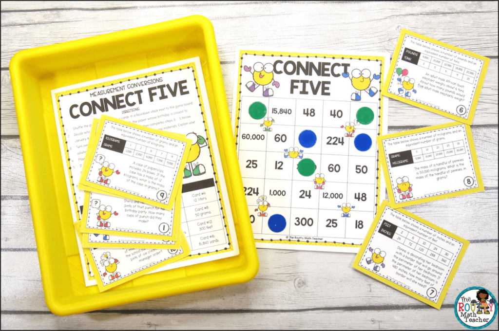 This picture shows an example of a strategy for organizing math stations.