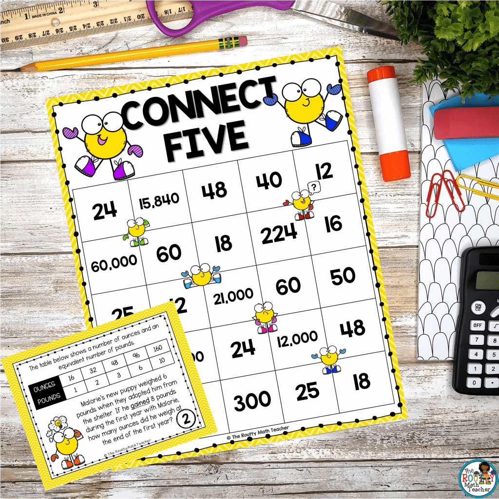 This is an example of pairing task cards with a Connect Five game.