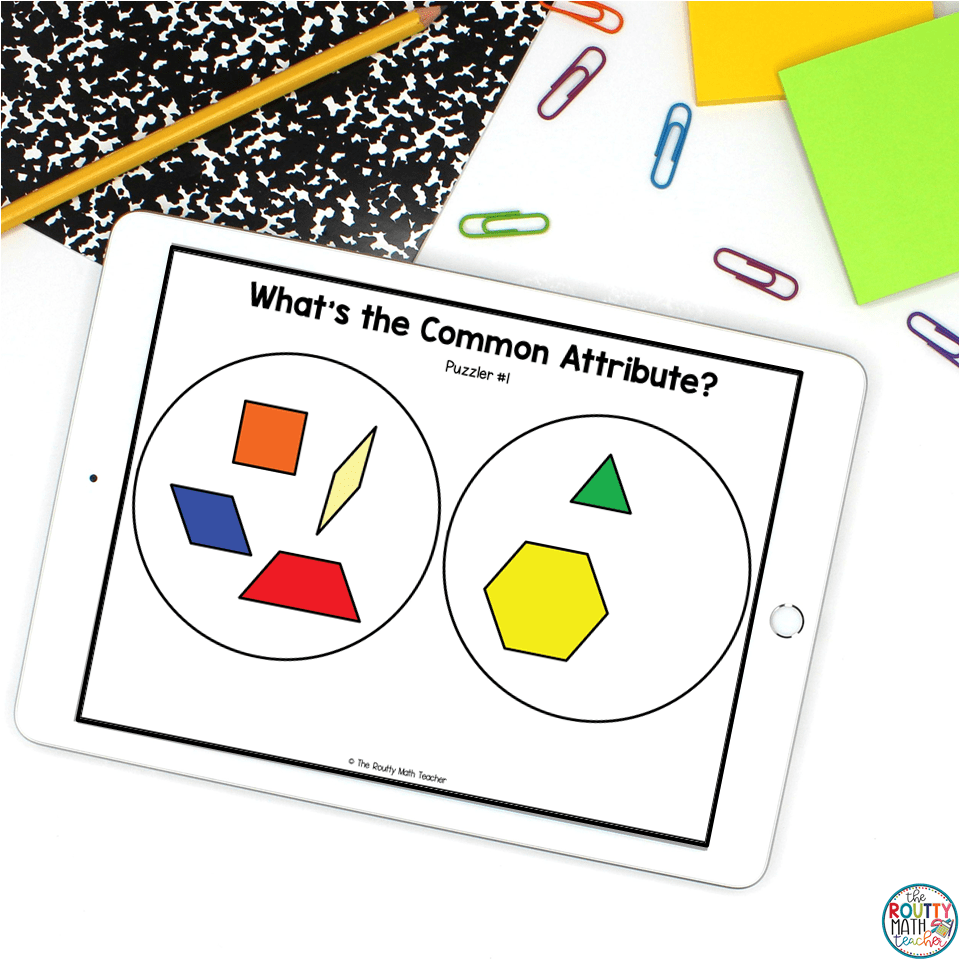 """""""What's the Common Attribute?"""" is one of the activities with pattern blocks that can be used to reinforce geometry vocabulary."""