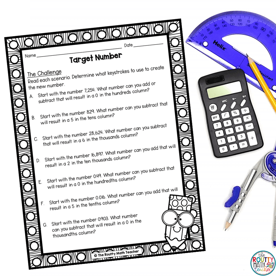 This is a task that emphasizes using math calculators to build critical thinking skills.