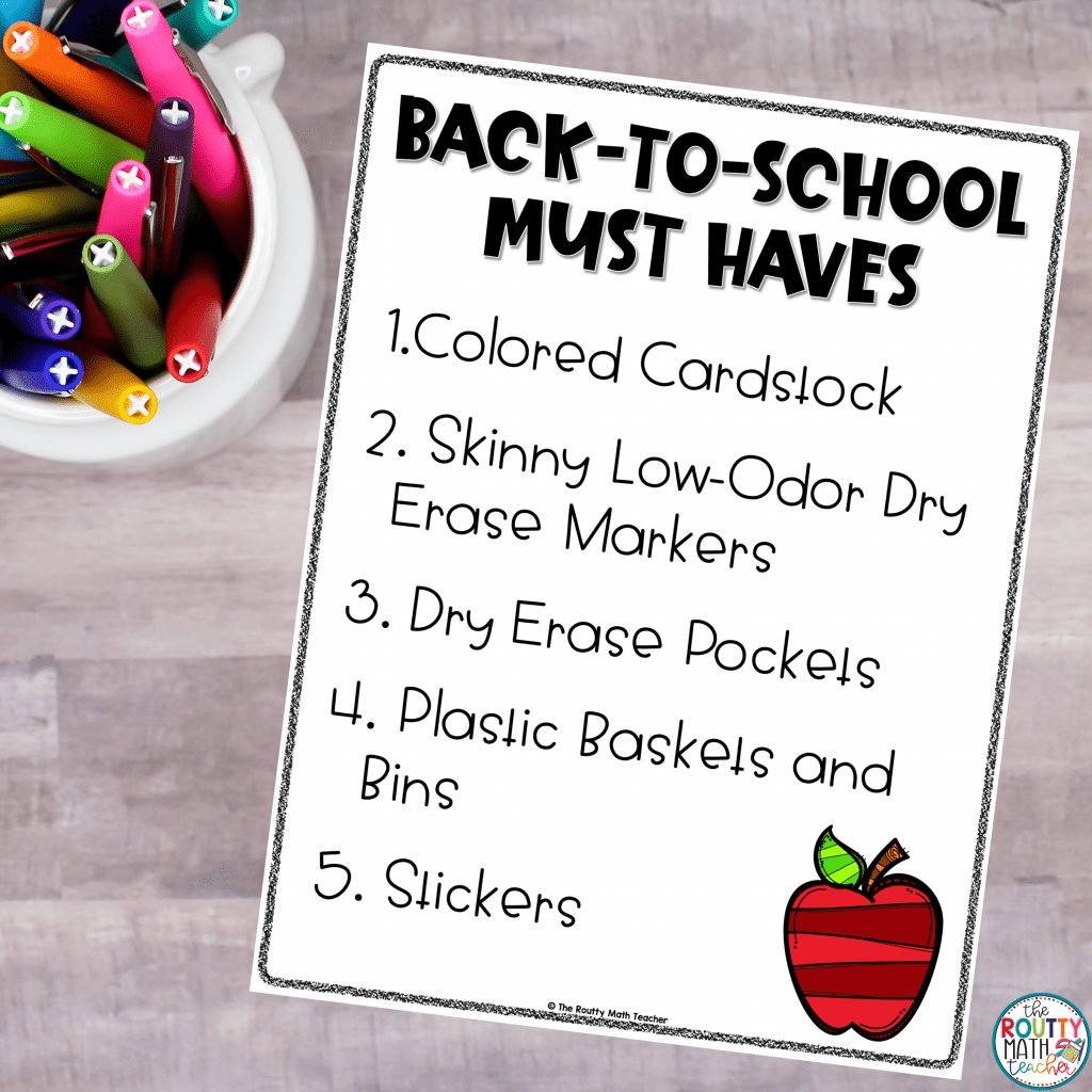 [Insert Supply List here; Alt text: This is a list of my favorite back to school must haves.]